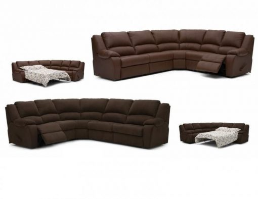 PALLISER DELANEY RECLINING LEATHER SECTIONAL WITH SLEEPER