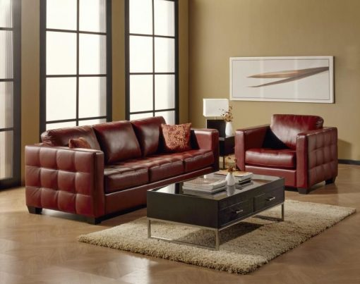 Copy Troon Leather Sofa Set
