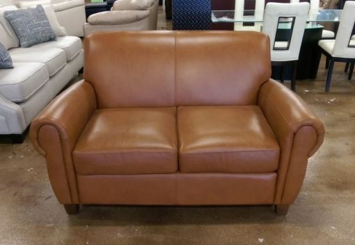 New Omnia Pa Risian Leather Loveseat Save Over Percent