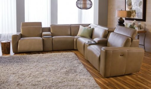 brown springfield sectional leather
